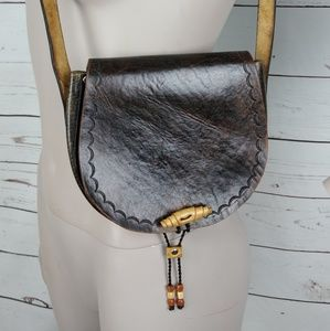 Vintage Hand Tooled Oiled Leather Crossbody Purse